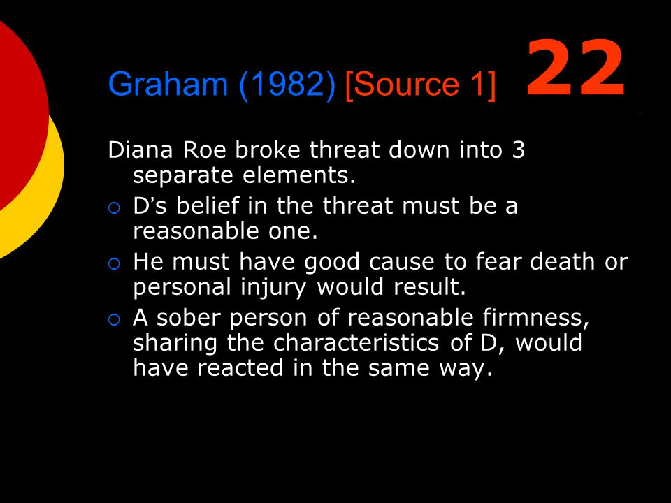 22 Graham (1982) [Source 1] Diana Roe broke threat down into 3 separate elements. D's belief in the threat must be a reasonable one.